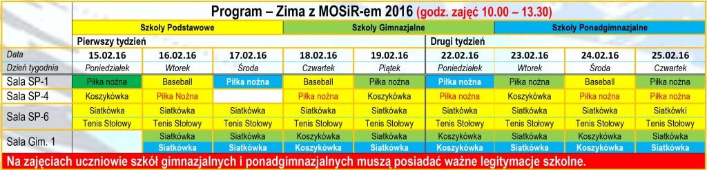 Program - Zima z MOSir-em 2016